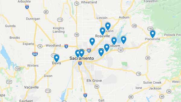 Map of Mobilize.Net customers around Sacramento, CA.