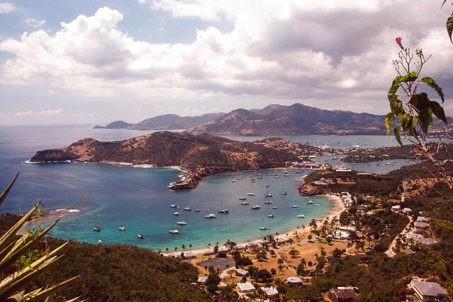 English Harbor in Antigua from Shirley Heights