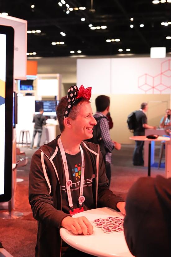 Attendee wearing strange headgear.