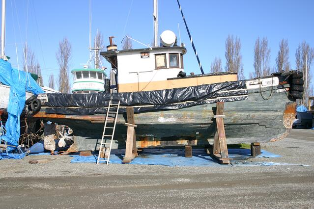 Wooden fishing boat on the hard, Port Townsend, WA