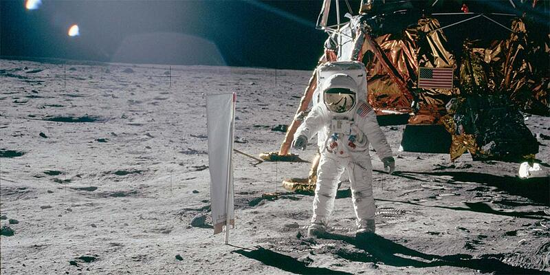 """Apollo 11 photo of Buzz Aldrin by Neil Armstrong"" by Apollo Image Gallery is marked with CC PDM 1.0"