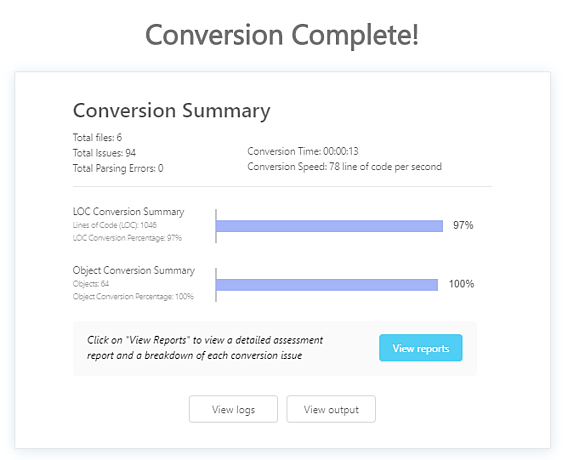 Screenshot of conversion completion