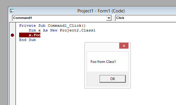 Screenshot of what a successful use of the COM object from the 32-bit VB6