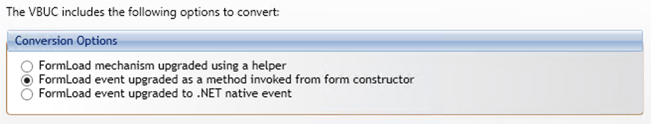 Screenshot of conversion options for VBUC