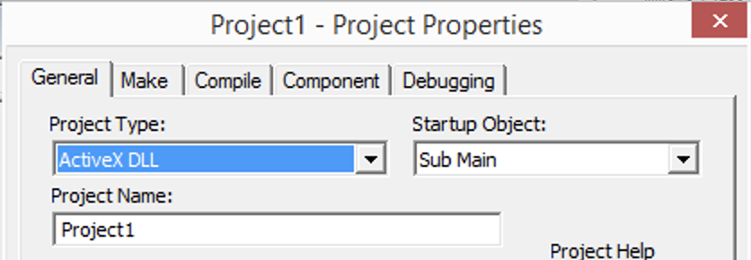 Screenshot of project properties