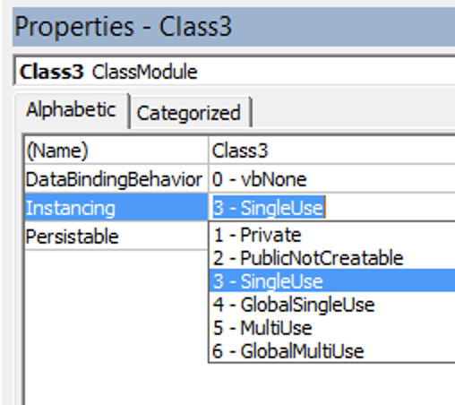 Screenshot of instancing single use selection