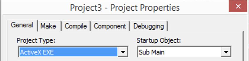 Screenshot of ActiveX EXE project type