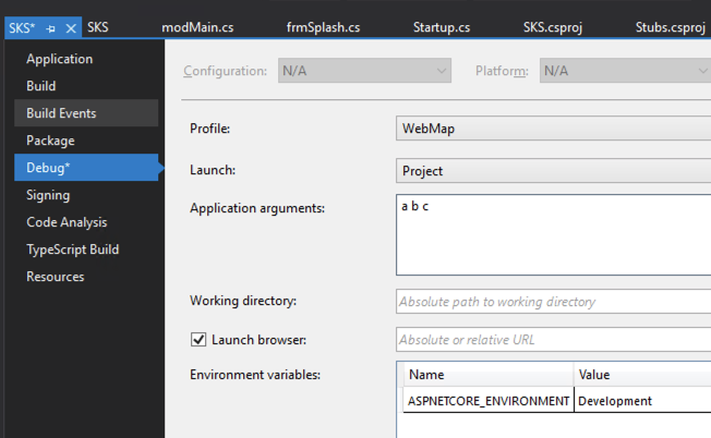 Screenshot of parameters start in VS