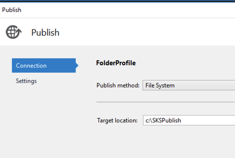 Screenshot of after you select publish, you can select the method - for simplicity use the Folder publish