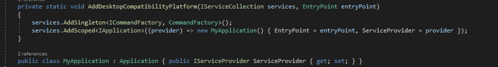Screenshot of how to inject the services provider inside our Application object
