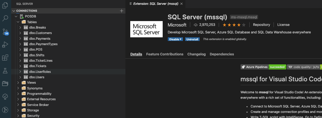 Screenshot to check docker container work and use the Microsoft SQL Server extension.