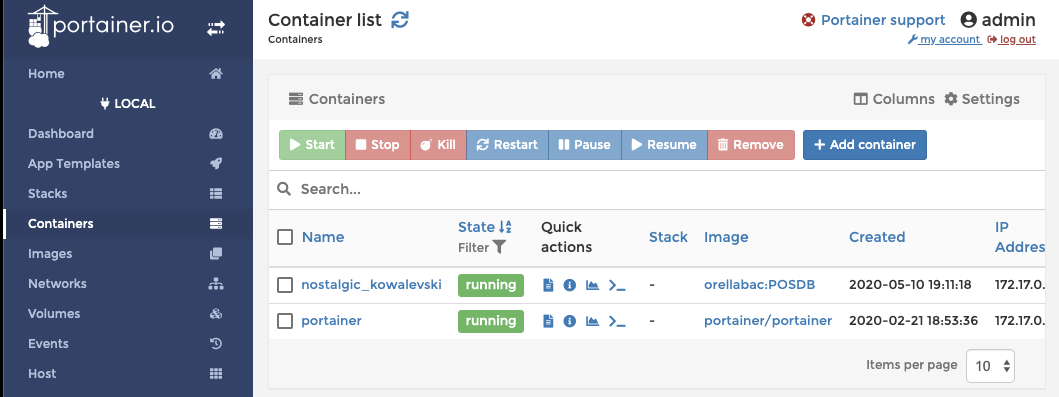 Screenshot of how to use Portainer to manage your containers and images.
