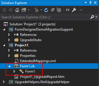 Screenshot of the the form in Solution Explorer