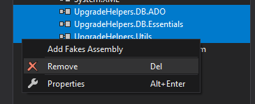 Screenshot shows how to delete the references to the DLLs in the migrated project