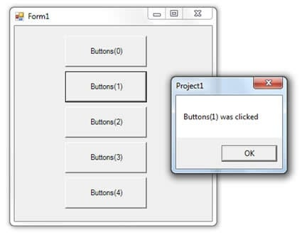 VB6 Application showing the CommandButton controls contained in the Buttons array migrated